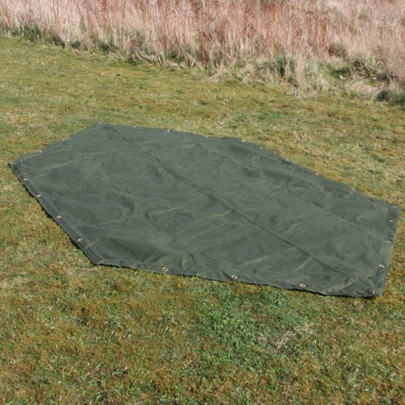 & US Army pup tent shaped groundsheet